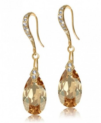 De Lelu Sterling Silver Swarovski Crystal Elements Cubic Zirconia Drop Earrings - Golden Shadow/Yellow Gold - C112F791GUX