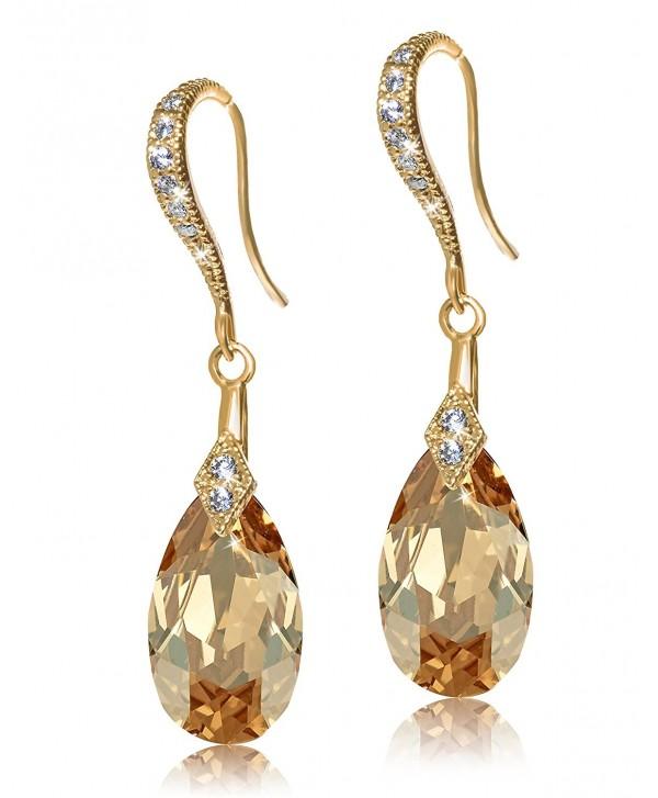 Sterling Silver Swarovski Crystal Elements Cubic Zirconia Drop Earrings Golden Shadow Yellow Gold C112f791gux