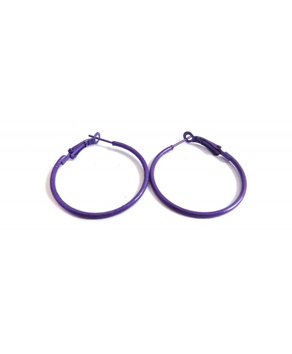 Color Hoop Earrings Simple Thin Hoop Earrings 1.5 Inch Hoop Earrings - Purple - C112N212AOV