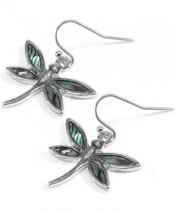 Liavy's Dragonfly Fashionable Earrings - Fish Hook - Abalone Paua Shell - Unique Gift and Souvenir - CG1274V7U7P