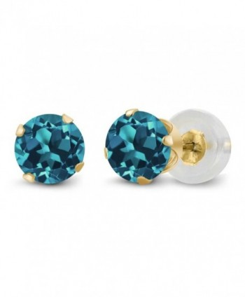 14K Yellow Gold London Blue Topaz Gemstone Birthstone 4-prong Stud Earrings (1.10 cttw- 5MM Round) - CT1191KNF0J