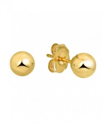 JewelStop 14k Real Yellow Gold Stud Ball Earrings- Gold Friction Backs - 6 mm - CJ11Y7005PL
