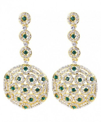BriLove Women's Stylish Crystal Hollow Beaded Circle Disc Drop Filigree Dangle Pierced Earrings - Gold-Tone Green - CB128ZM4VID