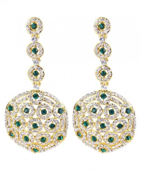 BriLove Women's Stylish Crystal Hollow Beaded Circle Disc Drop Filigree Dangle Pierced Earrings - Gold-Tone Green - CB128ZM4VID