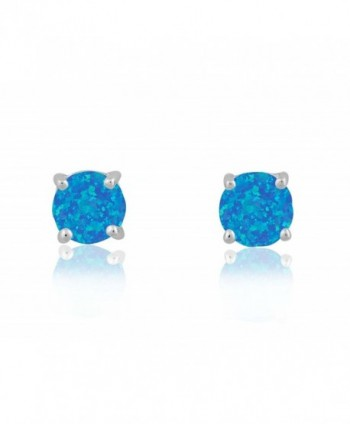 Sterling Silver / Rose / Gold Tone Created Blue- White & Pink Opal Round 6mm Stud Earrings - Created Blue Opal - CI127W0540N