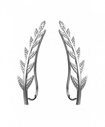 Ear Crawler Cuff Earrings 14k White Gold Over Sterling Silver Ear Climber Studs Olive Leaf Hypoallergenic - CF12NSLDD6Q