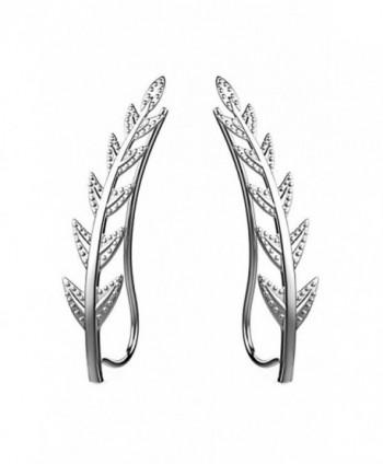 Ear Crawler Cuff Earrings 14k White Gold Over Sterling Silver Ear Climber Studs Olive Leaf Hypoallergenic - CF12NSLDD6Q