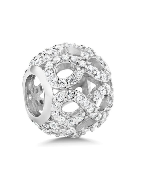 925 Sterling Silver White CZ Infinity Round Bracelet Bead Charm Compatible W/ Pandora Bracelets - CU12NTJATO1