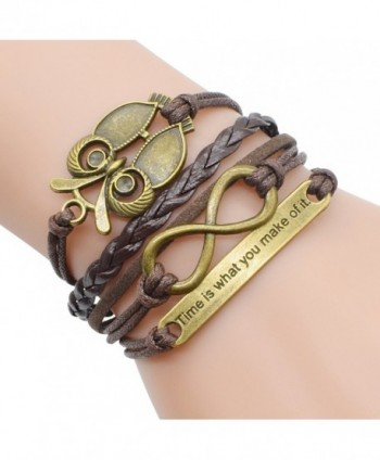 Retro Bronze Owl Infinity Symbol Time Theme Unique Braided Adjustable Charm Bracelet - CA12C2TG9KN