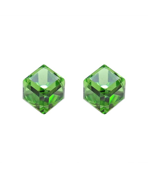 3.5 mm Green Crystal Cube .925 Sterling Silver Stud Earrings - CW11QSZF0L7