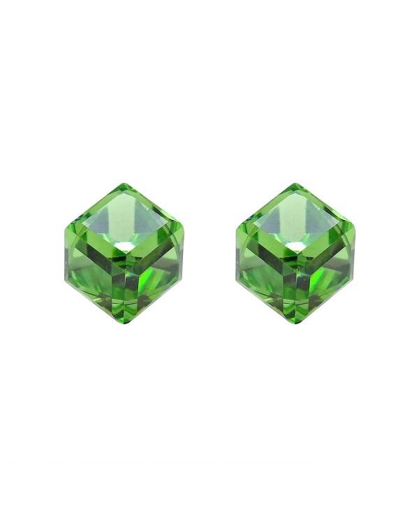 3.5 mm Green Crystal Cube .925 Sterling Silver Stud Earrings - CW11QSZF0L7