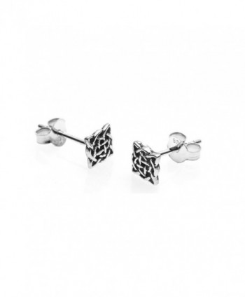 925 Sterling Silver Tiny Square Celtic Knot Post Stud Earrings 12 mm - Nickel Free - CX11M2CLS3J