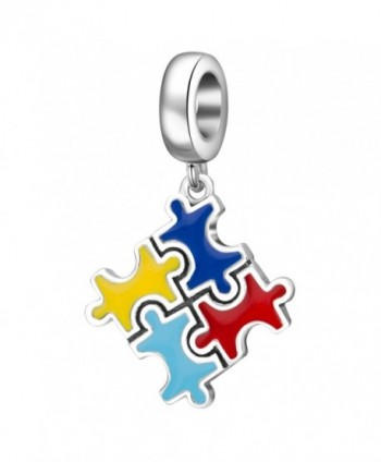 Hoobeads Colorful Puzzle Piece Charms Pendant Solid 925 Sterling Silver Bead for European Bracelet - CK1897YCQ7E