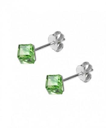 Green Crystal Sterling Silver Earrings