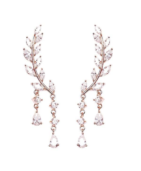 EVERU CZ Vine Jewelry Sweep Wrap Crystal Rose Gold Plated Leaf Ear Cuffs Set Stud Earrings for Women - CU120IDZHAR