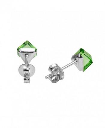 Green Crystal Sterling Silver Earrings in Women's Stud Earrings