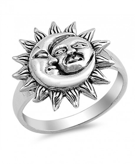 Sun Moon Universe Faces Ring New .925 Sterling Silver Band Sizes 5-10 - CN12HBSK7LH