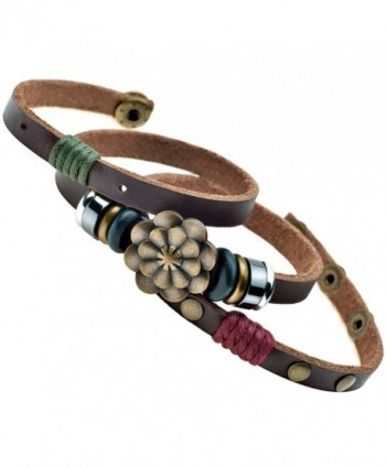 Multilayer Leather Personality Hematite Lucky Lotus Flower Snap Button Wrap Bracelet - C612D4O40DN