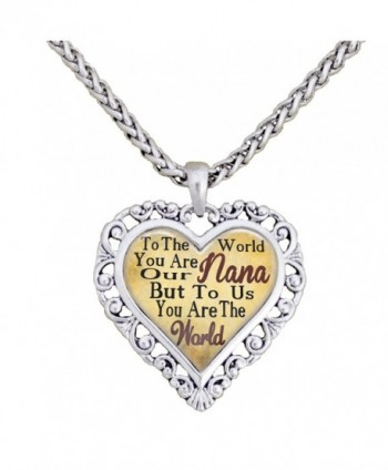 Nana You Are The World To Us Silver Chain Necklace Heart Jewelry Grandmother - C512BP22LFZ