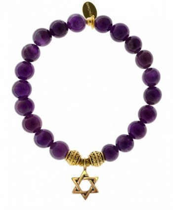 EvaDane Natural Amethyst Gemstone Tibetan Bead Star of David Charm Stretch Bracelet - C312O0PC3EQ