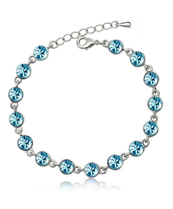 White Gold Link Strand Bracelet for Women Colorful Rainbow Zirconia Crystal Charms - Blue - C1185GWDMTA