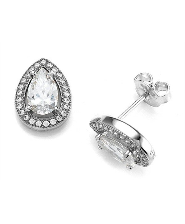 Zoe R Hand Set Cubic Zirconia Pear Shape Earrings - CU11HTWW453