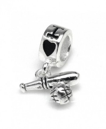 925 Sterling Silver I Love Baseball Game Fans Bat Sport Dangle Bead For European Charm Bracelets - CA11L1H5PGH