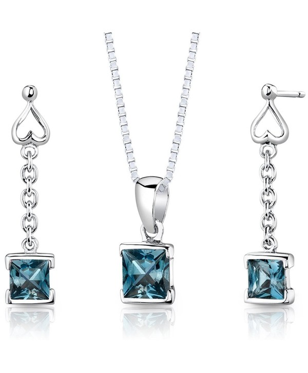 London Blue Topaz Pendant Earrings Necklace Sterling Silver Rhodium Nickel Finish Dangle - CN112T47H9T