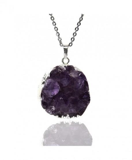 Amandastone 35 45mm Natural Amethyst Crystal - Amethyst silver-plated edge - CS12I18PULD