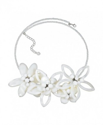 Modern Petals Mother of Pearl Feminine Flowers Choker Necklace - CB11Q02FZNV