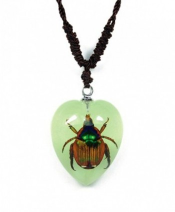 Heart Shaped Glow In The Dark Necklace w/ REAL Shining Chafer Beetle - CF11QC1BC0F