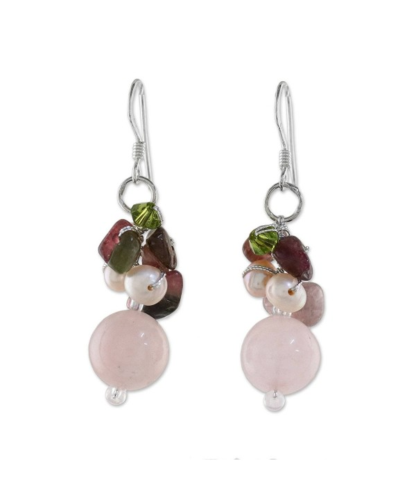NOVICA Cultured Freshwater Pearl and Dyed Quartz Earrings with Sterling Silver Hooks- 'Romantic' - C7118LE06CL