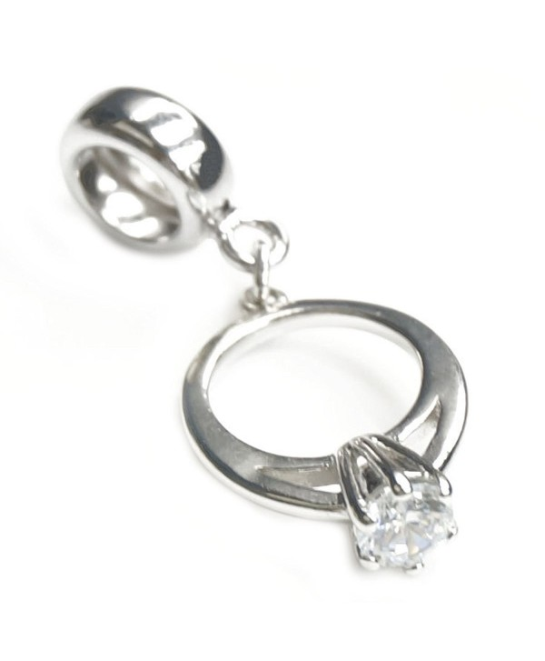 Sterling Silver Engagement Wedding Ring Clear Cubic Zirconia Dangle Bead For European Charm Bracelets - CE11FXHDOPF