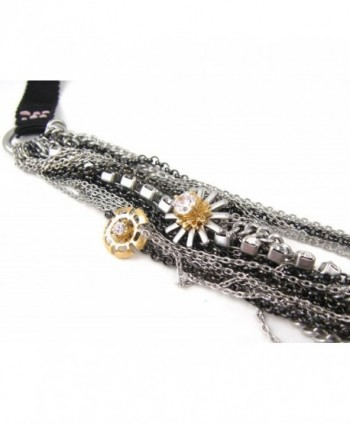 Juicy Couture Grosgrain Gunmetal Multi-Strand Flower and Chain Necklace - CS118PO95ID