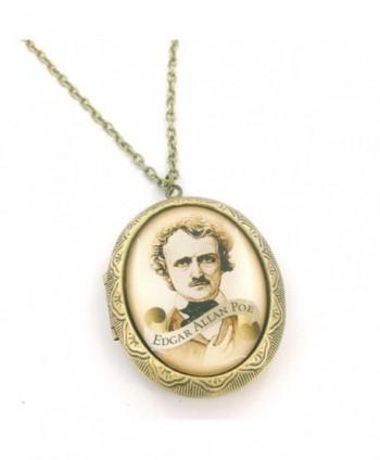 Edgar Allan Poe Scroll Cameo Locket Necklace - C511JDJ4VKL