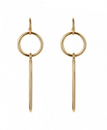 Gold Plated Fashion Stylish Loop & Vertical Bar Drop Dangle Simple Minimal Earrings for Women Girls - C3184RK3HIG