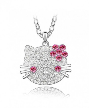 Crystal Diamond Pendant Necklace SWAROVSKI - Rose Red - C211I4LFMHF