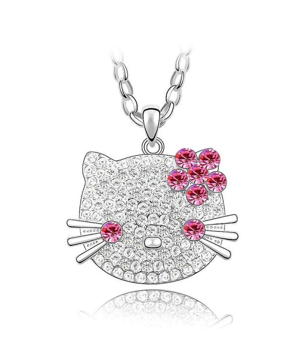Crystal Diamond Pendant Necklace SWAROVSKI - Rose Red - C211I4LFMHF
