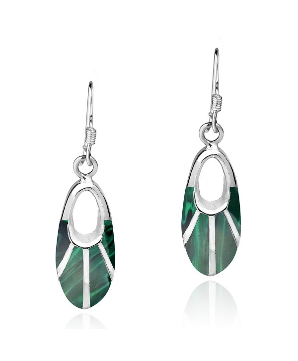 Celestial Oval Green Malachite Inlay .925 Sterling Silver Dangle Earrings - C112L2QZBYH
