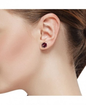 Round Rhodolite Garnet White Earrings