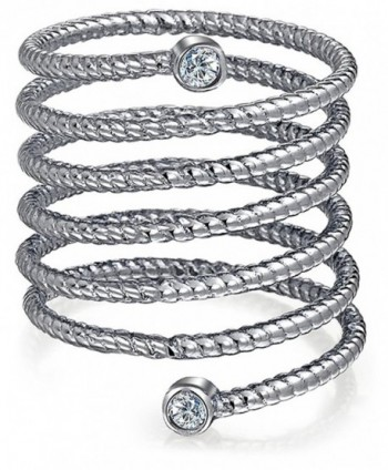 Bling Jewelry CZ Stackable Spiral Rhodium Plated Silver Statement Ring - CE122X95863