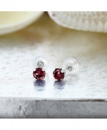 Round Rhodolite Garnet White Earrings in Women's Stud Earrings