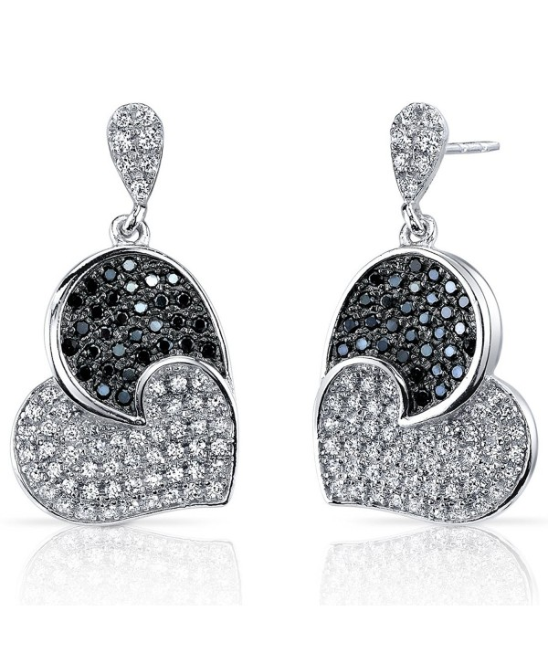 Spectacular Tilted Heart Black and White CZ Sterling Silver Rhodium Nickel Finish Dangle Earrings - CI119H408DL