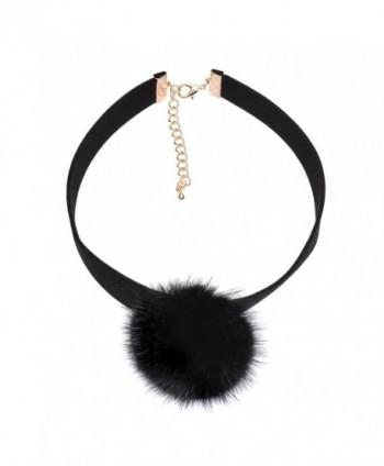 Spinningdaisy Black Mink Fur Pom Velvet Choker - CH12MZRUNJ2