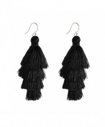 Bonnie 4 Four Tiered Thread Statement Layered Pierces Hook Tassel Dangle Earrings - Black - CU186DLQ5M9