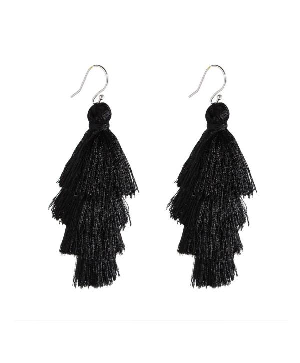 Bonnie 4 Four Tiered Thread Statement Layered Pierces Hook Tassel Dangle Earrings - Black - CU186DLQ5M9