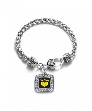 Softball Mom Charm Classic Silver Plated Square Crystal Bracelet - CT11LXNB6EJ