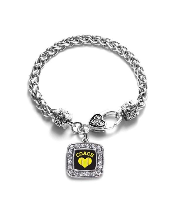 Softball Mom Charm Classic Silver Plated Square Crystal Bracelet - CT11LXNB6EJ