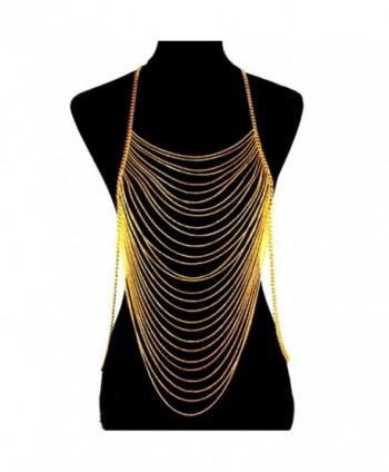 Celebrity Fashion Jewelry Gold Layered Strand Draped Chain Statement Body Chain Necklace - CZ12CDRO3EX