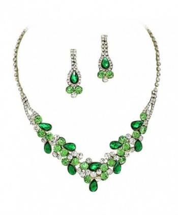 Elegant Emerald Green W Lime Green Accents V-Shaped Garland Bridesmaid Evening Necklace Set Gold Tone K6 - CR11P9GVA6J